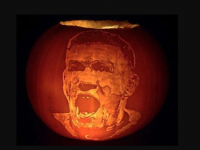 Shane Kenny's carving of James McClean from a pumpkin.