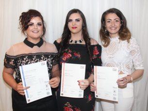 Elena Buckley, Megan O'Brien and Grace Stack at the Kerry ETB Awards at the Rose Hotel on Thursday night. Photo by Lisa O'Mahony.