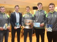Former Kerry star Aidan O'Mahony with Kerry minors Ciaran O'Reilly, Ryan O'Neill, Diarmuid O'Connor and Dylan Casey at the launch of the Kerry Hospice Christmas Cards on Monday night. Photo by Dermot Crean