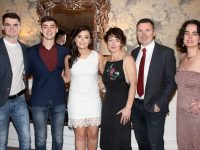 Marina Barry (third from right) who received the Lifetime Commitment to Kerry Ladies Football Award with, from left, Gearoid Fitzgerald, Darragh Barry Walsh, Caoimhe Barry Walsh, John Walsh and Anne Barry at the Kerry Ladies Gaelic Football Association Awards in The Rose Hotel on Saturday night. Photo by Dermot Crean
