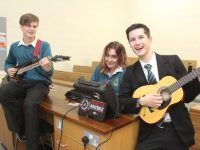 Pupils Joseph Vizer, Marie Husarova and Jack Lopez at the Mercy Mounthawk open day on Saturday. Photo by Dermot Crean