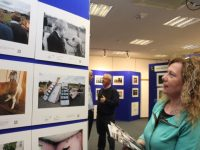 Treasa Walsh admiring the work at the opening of the  PPAI Exhibition at Tralee Library on Monday night. Photo by Dermot Crean
