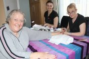 Marie Brosnan with Cathy Crowley and Dorota Szosdakows at Recovery Haven's Pink Nails Coffee Morning on Thursday.