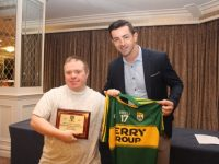 Hugh O'Brien receiving a special Tidy Tralee Together award presented by Aidan O'Mahony at the Tidy Tralee Together Awards at The Rose Hotel on Monday night. Photo by Dermot Crean