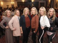 Moira Keane and Sandra Rusk (third and fourth from left) from Weardrobe with models Helen Leahy, Elaine Hennebery, Paula Foley and Suzanne Sheehy at the Weardrobe 20th Birthday Fashion Show in The Ashe Hotel on Thursday night. Photo by Dermot Crean