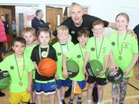 Kieran Donaghy with youngsters at his Basketball Camp on Friday at John Mitchels GAA Complex in Ballyseedy. Photo by Dermot Crean