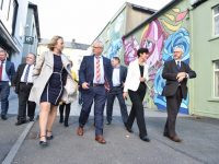 The Bank of Ireland Enterprise Town judges are shown around Tralee during the judging last month