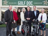 Pictured at the opening of The Golf Doc Academy in Ballinorig, Tralee was ( L to R )  Philip Walton, Simonette Clifford, Ellen O'Dowd, Susan O'Dowd, Owner James O'Dowd, Dick Spring and Mary O'Dowd.