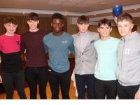 Jordan Kissane, Luke O'Carroll, Basit Oyebanji, Killian Griffin, Conor Commane and Owen Healy at the Tralee Harriers Athletics Club awards night in the Manor West Hotel on Friday. Photo by Dermot Crean