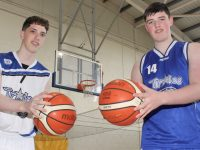 Tralee Imperials players and Mercy Mounthawk students, Oliver Hart and Daire Kennelly, looking forward to taking part in the Basketball Marathon event in aid of Kerry Hospice next month. Photo by Dermot Crean