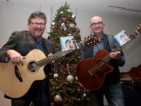 Musicians John Buggy and Pat Pierse with their 'A Christmas Hug' CD in aid of Inspired at The Rose Hotel on Friday evening. Photo by Dermot Crean