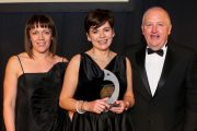 Award Winner for the Category of 'Catering & Nutrition Award' was Maura Moriarty pictured with Sponsor from Fresenius Kabi; Shiofra O'Malley, Chief Executive of the NHI; Tadhg Daly and MC for the evening and Broadcaster Marty Whelan