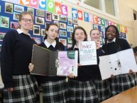 Presentation Transition Year students Claudia Drzymala, Orla O'Brien, Clodagh Begley, Bronagh Foley and Zainab Lawal with their Binder Minder project. Photo by Dermot Crean