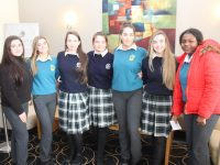 Seniz Kuccuk, Riadh O'Sullivan, Grace Myers, Becky Fitzgerald, Kayla Sugrue, Caroline Courtney and Ella Itsede at the Transition Year Parish Day at Ballyroe Heights Hotel on Tuesday. Photo by Dermot Crean