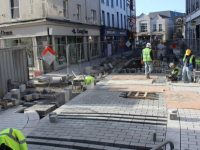 Paving works underway on Bridge Street on Thursday.