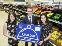 Aldi has reached the significant milestone of donating 1,000,000 meals to charities through FoodCloud since the partnership began.  This equates to a saving of almost €1.5 million for the charity partners involved. Pictured (L to R) is:  FoodCloud co-founder and CEO Iseult Ward, Finbar McCarthy, Aldi's Group Buying Director and FoodCloud co-founder and CEO FoodCloud Hubs Aoibheann O'Brien.