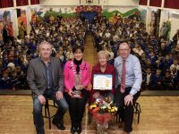 Catherine Dolan on the occasion of her retirement as school traffic warden at the school with Frank Hartnett of Kerry County Council, Mayor of Tralee Norma Foley and Principal of CBS Primary, Denis Coleman. Photo by Dermot Crean