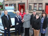 Roberta Kelly accepts the keys to her new Ford from Tom Lawlor of Tralee Credit Union. Also included is Stephen Benner of Kerry Motors Works, Emma Kelly, Sean Kelly, Pierce Foley Kelly and Helen Geary of Tralee Credit Union. Photo by Dermot Crean