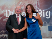 Evelyn Dore receiving her GAisce Gold Award from President Michael D Higgins yesterday.
