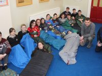 Gaelcholáiste Chiarraí sixth year students prepare to sleep overnight in the school to highlight homeless issue. Also pictured is Manager of Arlington Lodge Ronan Doherty and Paul Williams caretaker at Arlington Lodge. Photo by Dermot Crean