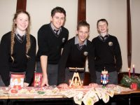 Gaelcholáiste Chiarraí transition years Amy Pollmann, Peadar Tóibín, Lennox Beaujouan and Andrew Muineacháin helping out with the celebrations for Saint Nicolas' feast-day on Wednesday at Collis Sandes House. Photo by Dermot Crean