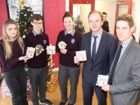 Laura Stanisauskaite, Gavin Mulvihill and Jasmine Griffin with Principal Richard Lawlor and Deputy Principal Liam McGill at the launch of the CD at Coláiste Gleann Lí on Wednesday. Photo by Dermot Crean