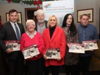 Andy Smith, Angela Walsh, Johnnie Wall, Dolores McElligott, Paula O'Sullivan and Paul Johnson at the launch of the Mitchels Boherbee Historical & Heritage Group's Calendar and CD in The Munster Bar on Thursday night. Photo by Dermot Crean