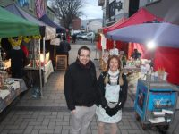 David Scott of Tralee Chamber Alliance and Eva Grafstrom of Dairy Delights at the Tess Quarter Market on Friday afternoon. Photo by Dermot Crean