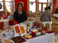 Judy Costelloe (TAG) with some of her creations at the Tralee Art Group Sale of Work in Baile Mhuire Day Centre Tralee.