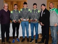"North Kerry Football Coiste na nÓg making presentations to 3 members of the victorious Kerry minor team at the awards night night held in Christys ""The Well"" Listowel on Thursday night last. L-r Tom Moran Coiste na nÓg, Barry Mahony St Senans, Adam Donoghue Desmonds, Eddie Browne Listowel Emmets, Sean Moriarty Coiste na nÓg, and John Ross Coiste na nÓg. Photo by John Stack"