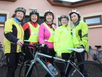 Anne O'Riordan, Margaret O'Shea, Annette Dineen, Joan O'Sullivan and Margaret Hayes at the Jimmy Duffy Memorial Cycle from St Pats GAA Club on Saturday morning. Photo by Dermot Crean
