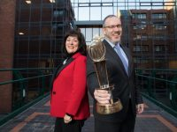 8-1-2018 Picture shows from left at the launch of the EY Entrepreneur Of The Year™ 2018 was Anne Heraty, Chairperson of the judging panel; and  Kevin McLoughlin, Partner, EY. The nomination window for this year's programme is open until February 16th.Pic:Naoise Culhane-no fee