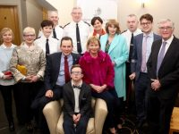 Overall winner Dale O'Carroll, Listowel, with mom and dad Paul and Claudette O'Carroll and from left; Noelle Lanigan, Marian Dee, Assistant Commissioner Southern Region, Ann Marie McMahon, Chief Supt Tom Myers, Supt Jim O'Connor, Myra O'Carroll, Noreen Mulvihill, Supt Dan Keane, Gerard and Paddy Mulvihill at the Lee Strand Garda Youth Achievement Awards at the Ballyroe Heights Hotel on Friday night. Photo by Dermot Crean