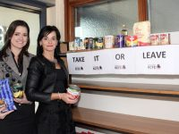 Kerry College of Further Education Principal Mary Lucey (right) and Childcare teacher Ellen Moloney at the 'Take It Or Leave It' shelf at the college. Photo  by Dermot Crean