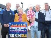 John Griffin (second from right) with Frank O'Connor, Mike Griffin, Catriona O'Sullivan, little Katie Cunningham and Tony Corridon at the launch of the Kerins O'Rahillys GAA annual 10k Run on Saturday last. Photo by Dermot Crean