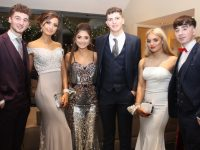 Shay Walsh, Hannah Lenihan, Lauren Griffin, Tom Houston, Niamh O'Sullivan and Shane McElligott at the Mercy Mounthawk Students' Debs Ball at Ballyroe Heights Hotel on Thursday night. Photo by Dermot Crean