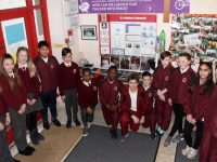 The sixth class students who displayed their 'How Can We Launch Our Teacher Into Space?' project at the BT Young Scientists and Technology Exhibition (Primary Schools section) in Dublin last Saturday. From left; Olivia Golonek, Julia Maciag, Sara Peterniece, Aditya Shet, Jamie Williams, Muhommad Abdalla, Elvis Ankomah, Andrej Bogdanovic, Martin Quilligan, Cillian O'Sullivan, Lily O'Brien, Hala Saffo and Dearbhla Cronin. Photo by Dermot Crean