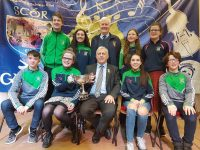 Na Gaeil Léiriú Group that were crowned Munster Scór na nÓg Champions in Ovens, Co. Cork on Sunday. Front Row: Liam Óg Kingston, Dearbhla Quirke, Chairperson of Munster Council Gerry O'Sullivan, Emily Crowe, Joshua Roche. Back Row: Barry Sugrue, Isabelle Crowe, Chairperson of Scór Munster Council Tom Herlihy, Aoife & Aine O'Sullivan