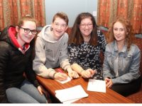 Dearbhla Quirke, Barry Sugrue, Helen Sugrue and Sadhbh Keating at the Scór fundraising table quiz at Na Gaeil GAA Club on Friday night. Photo by Dermot Crean