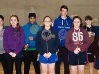 Kerry Under 17 Badminton Team. L/R,: Adele O'Brien, Jack McGovern, Eva Browne, Hasib Almned, Caoimhe O'Donoghue Flynn, Seamus Bradley, Caoimhe Burke, Christopher O'Donoghue, Amanda Flynn, Cathal O'Donovan  at the Munster Juvenile Inter County Badminton Competition held UL Limerick Sunday 28 January.