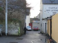 The narrow laneway at Slatts car park.