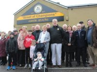 The club faithful gather at the unveiling of the Austin Stacks sign at Urban Terrace on Saturday. Photo by Dermot Crean