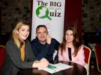 Catherine Rahilly, Mark O'Sulivan and Lisa Mulvihill at the heat of The Big Quiz Ireland in aid of Muscular Dystrophy Ireland in O'Donnell's Mounthawk on Friday night. Photo by Dermot Crean