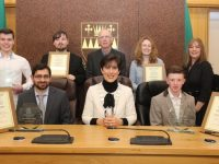 The recipients of the Tralee Municipal District Awards with Mayor of Tralee Norma Foley. Bak from left; Conor Horgan (KDYS), Josh Saunders (KDYS), Fr Ger Godley (KDYS), Dawn Roberts (Tralee Soup Kitchen) and Collette Price (Tralee Soup Kitchen). Front from left; Dr Rizwan Khan, Maypr Norman Foley and Patrick McCarthy. Photo by Dermot Crean