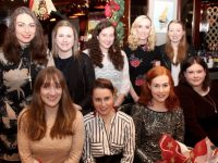 Front from left; Deirdre O'Connor, Karena Slattery, Aisling Sheehan and Teresa Horgan. Back from left; Olivia O'Shea, Catriona Ni Dhomhnall, Gemma O'Connell, Ciara Curtin and Ciara Rogers celebrating Women's Christmas in Benner's Hotel on Saturday night. Photo by Dermot Crean