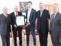 At the presentation of the award to Baile Mhuire Day Care Centre on Tuesday were Aidan Kelly, Development Officer with Baile Mhuire; Paddy Garvey, Chairperson of Baile Mhuire; Padraig Mallon of Kerry Group; John Stack, Chairperson of NEWKD and Eamon O'Reilly, NEWKD. Photo by Dermot Crean