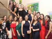 Special guest Micheál Ó Muircheartaigh with ladies at the Kerry Camogie Social at the Ballyroe Heights Hotel on Friday night. Photo by Dermot Crean