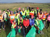 Volunteers who got together at the railway tracks near Blennerville to try to clean up the rubbish which washed up after recent high tides and flooding. Photo by Dermot Crean