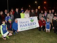 Tralee Harriers members, sponsors of the Tralee Marathon series and supporters gather at the official turning on of the lights at their training grounds on the Dan Spring Road on Thursday night. Photo by Dermot Crean