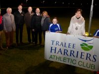 Sponsors and supporters of the Tralee Marathon join Mayor of Tralee, Norma Foley to launch the event at Tralee Harriers training grounds last Thursday. Back from left; Donagh O'Mahony, Radar Retail; Martin Fitzgerald, Chairman of Tralee Harriers; Louis Byrne of Byrnes SPAR; Christy Murray, Tralee Harriers; Brendan Kennelly, Kerry's Eye and Caroline O'Carroll, Tralee Harriers. In front; Rachel O'Mahony, Mayor Norma Foley and Alanna Cunnane. Photo by Dermot Crean